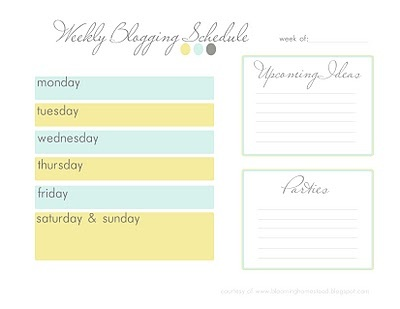 Blog Schedule Printable