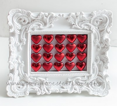 Valentine hearts frame at blooming homestead