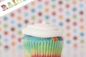 DIY rainbow cupcakes at blooming homestead