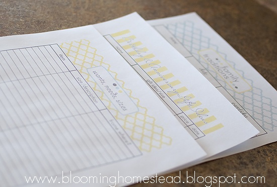 Family Traditions, gift list ideas, & wants list {free printables}