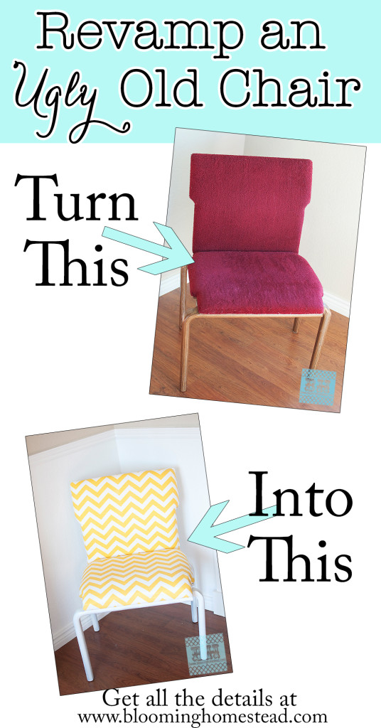 Have an ugly old chair laying around? Revamp it with fabric and paint. Check out the full tutorial of this fun furniture makeover.