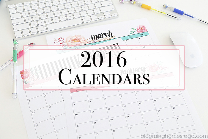 Printable Calendars  Blooming Homestead
