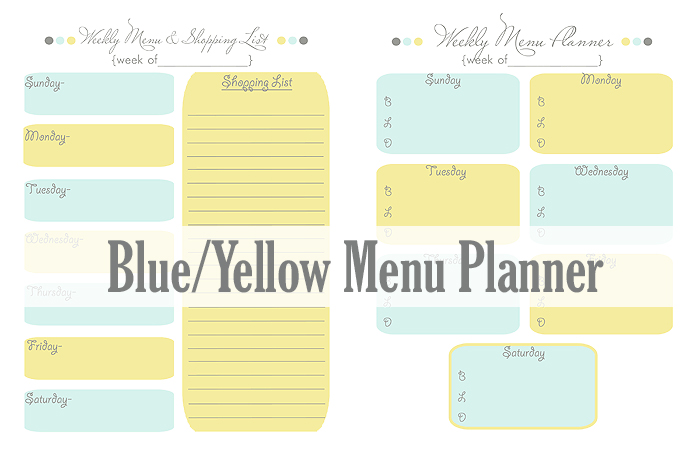 menu planning printable here blueyellowmenuplanner