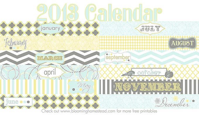 2013 Calendar {Free Printable}