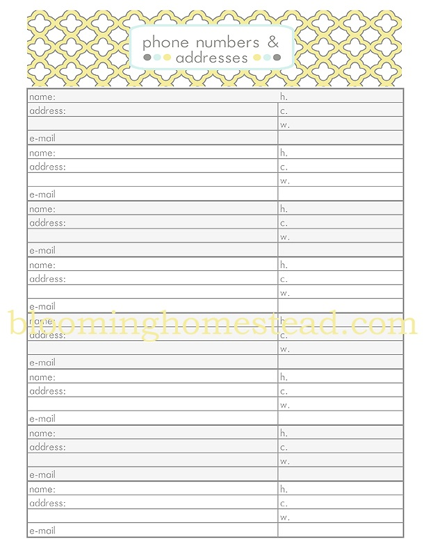 Contact Sheet {Phone Numbers & Addresses} free printable