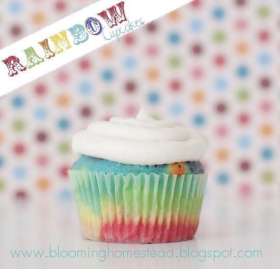 Rainbow cupcakes @blooming homestaed
