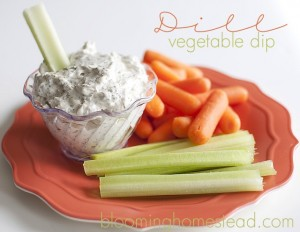 Veggie dill dip at blooming homestead