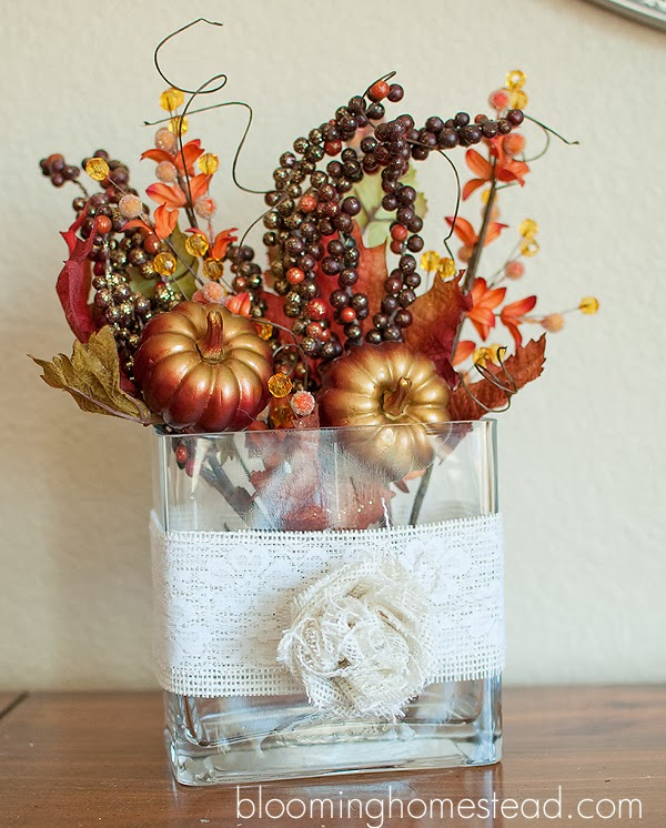 Easy Fall Centerpiece using Burlap