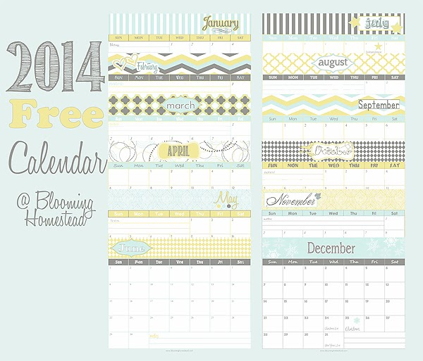 2014 Yearly Calendar Free Printable