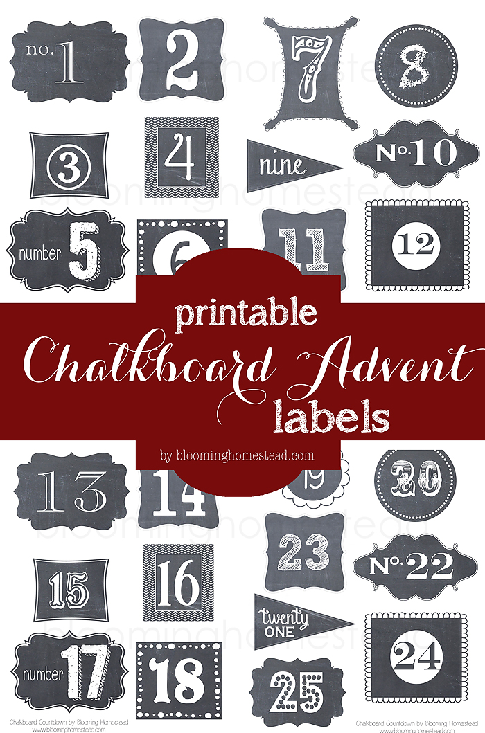 Chalkboard Advent Labels-free printable perfect for any countdown!