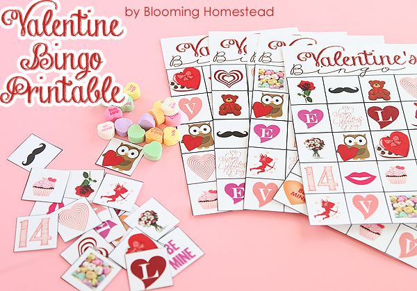 image about Printable Valentine Bingo Cards titled Printable Valentine Bingo Activity - Blooming Homestead