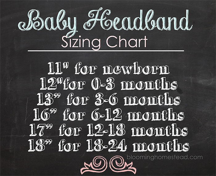 Baby headband sizing from Blooming Homestead