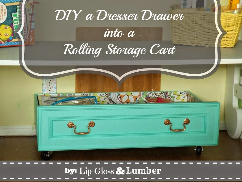 DIY a Dresser Drawer into a Rolling Storage Cart by Lip Gloss and Lumber #DIY #Repurposed #ModPodgeRocks