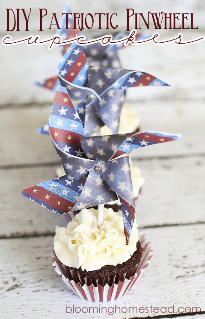 DIY Patriotic Pinwheel Cupcake at Blooming Homestead