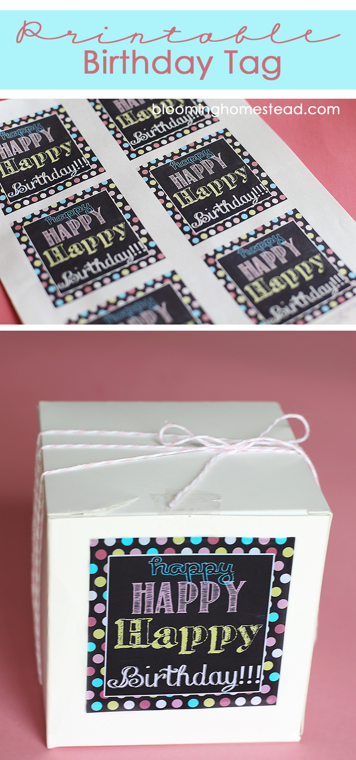 Happy Birthday Tag Printable by Blooming Homestead