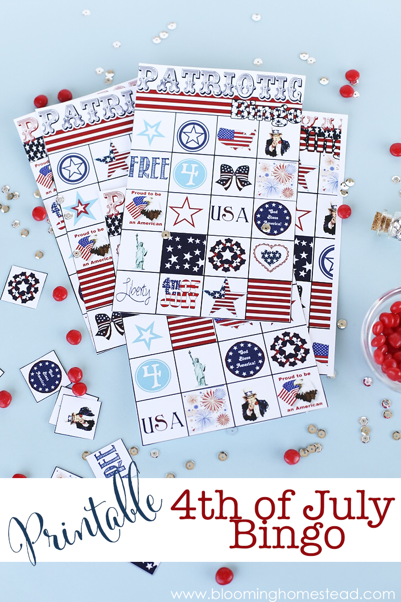 Super fun printable Bingo game for 4th of July. Perfect for parties.
