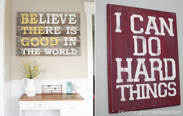inspirational signs at Blooming Homestead