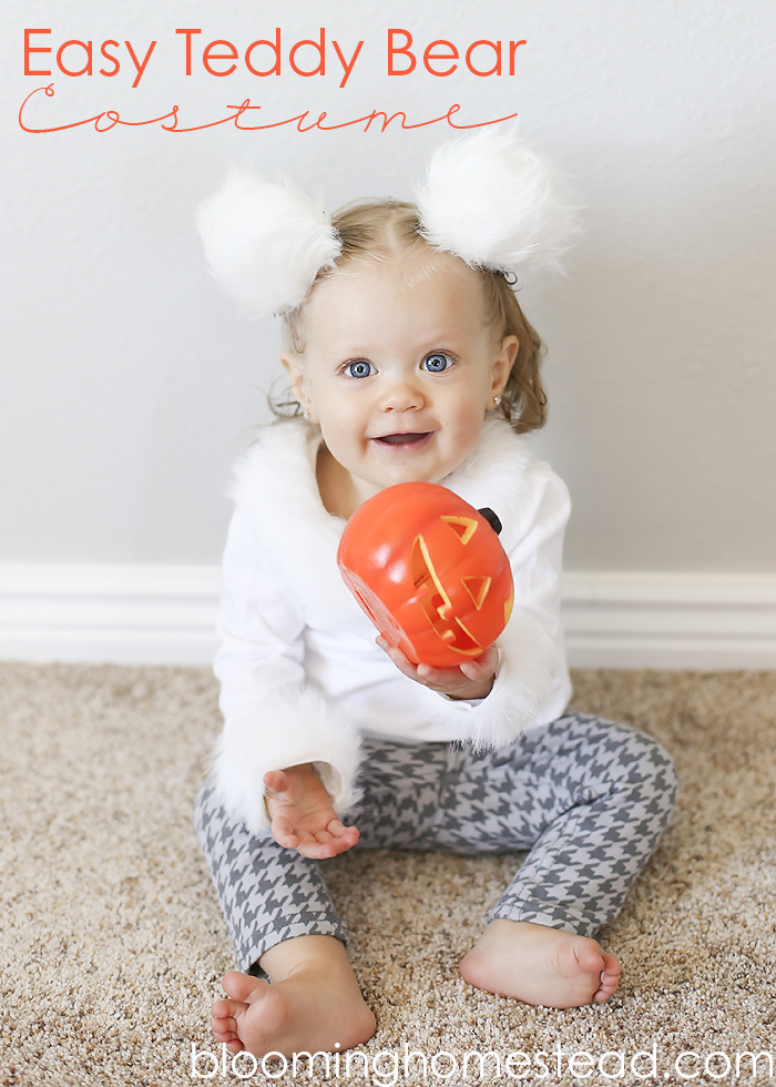 Handmade Teddy Bear Costume by Blooming Homestead #diy #halloween #costume #diycostume #babycostume #toddlercostume