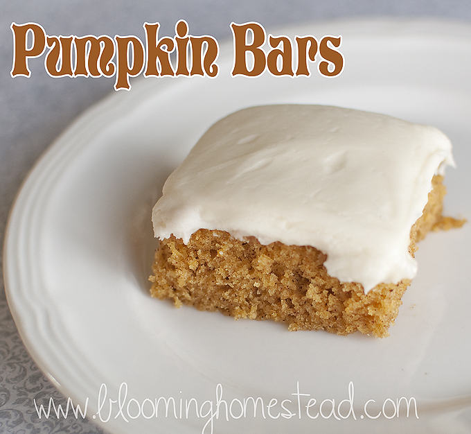 Pumpkin Bars by Blooming homestead