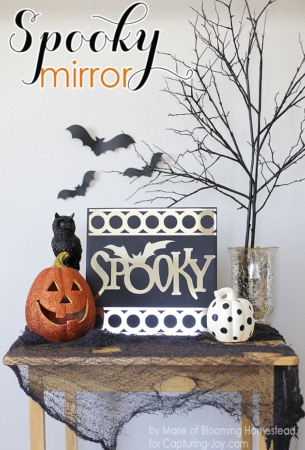 Super cool Spooky Mirror tutorial. So easy and so fun! #halloween #diy
