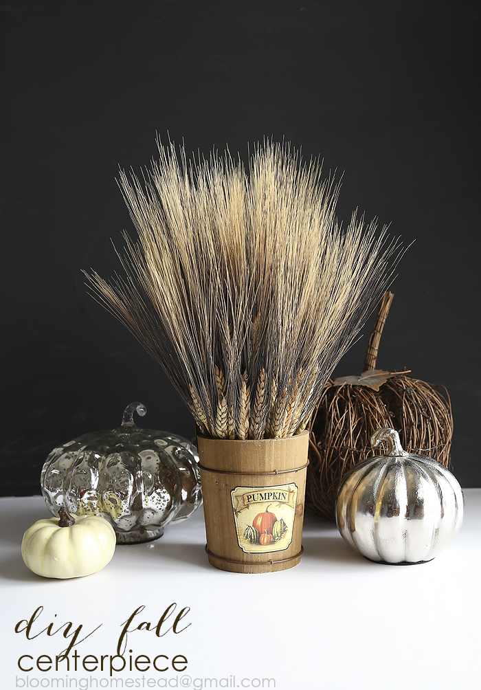 Check out this lovely fall wheat centerpiece with a video tutorial to show you how to make it! #fall #falldecor #harvest
