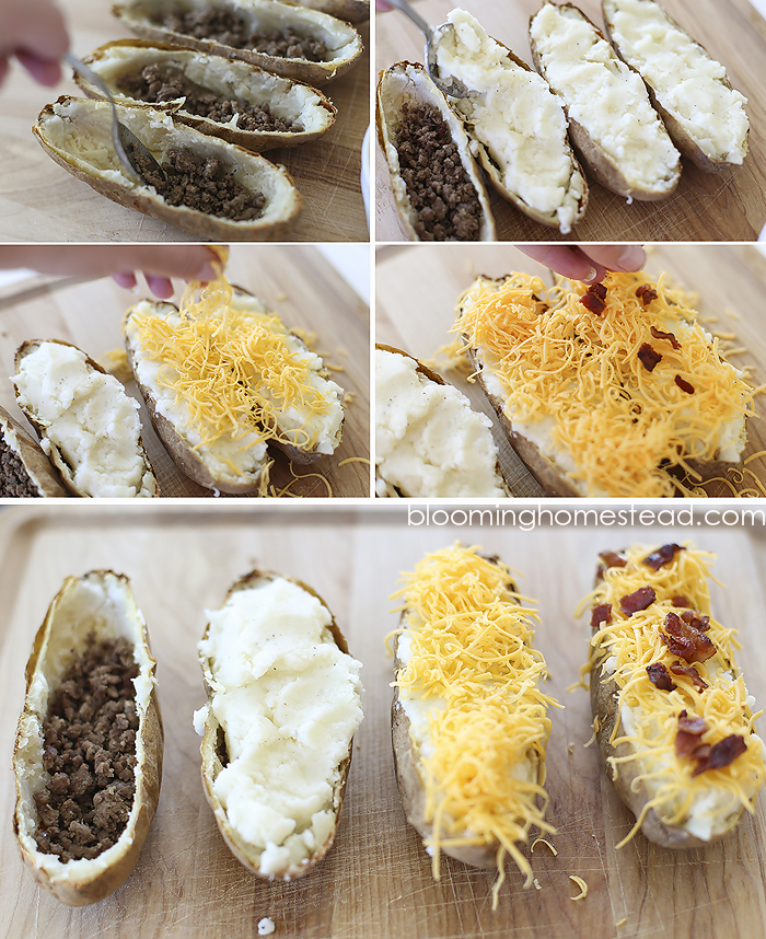 These delicious potato boats are simple to make and are a dinner the whole family will love. #recipes #bakedpotatoes
