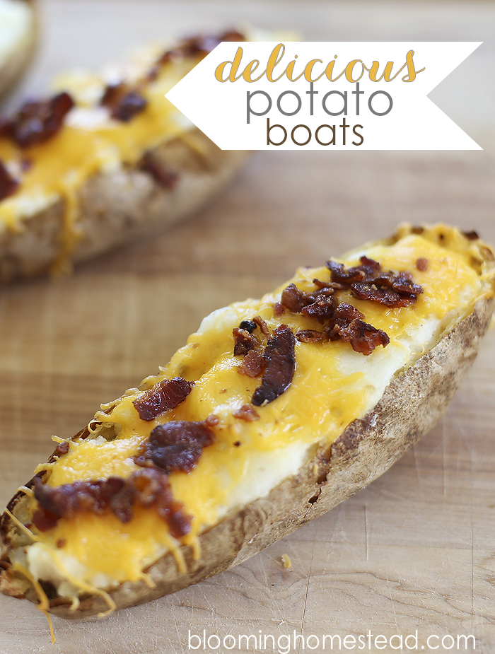 Simple and delicious potato boats make the perfect easy dinner. #bakedpotato #dinner #mealplanning