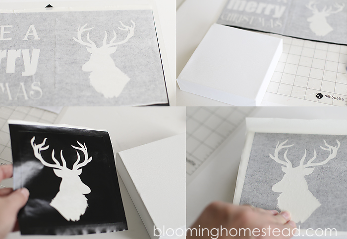 Easy And Fun DIY Christmas Canvas Art By Blooming Homestead