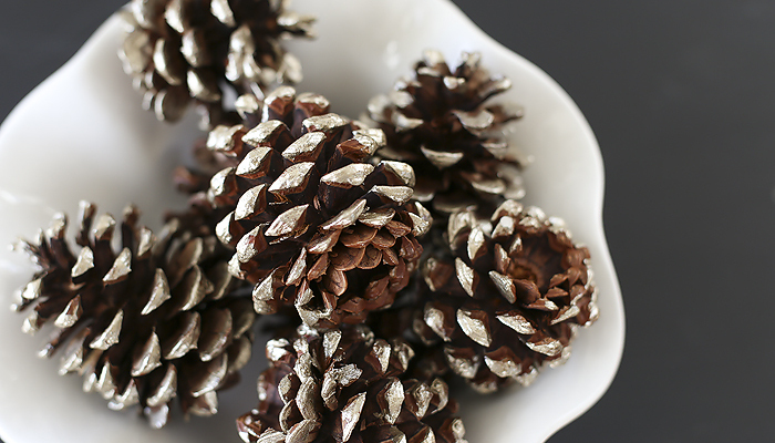Simple and easy tutorial for gorgeous metallic painted pinecones.   diy  pinecones   christmas   home decor  fall