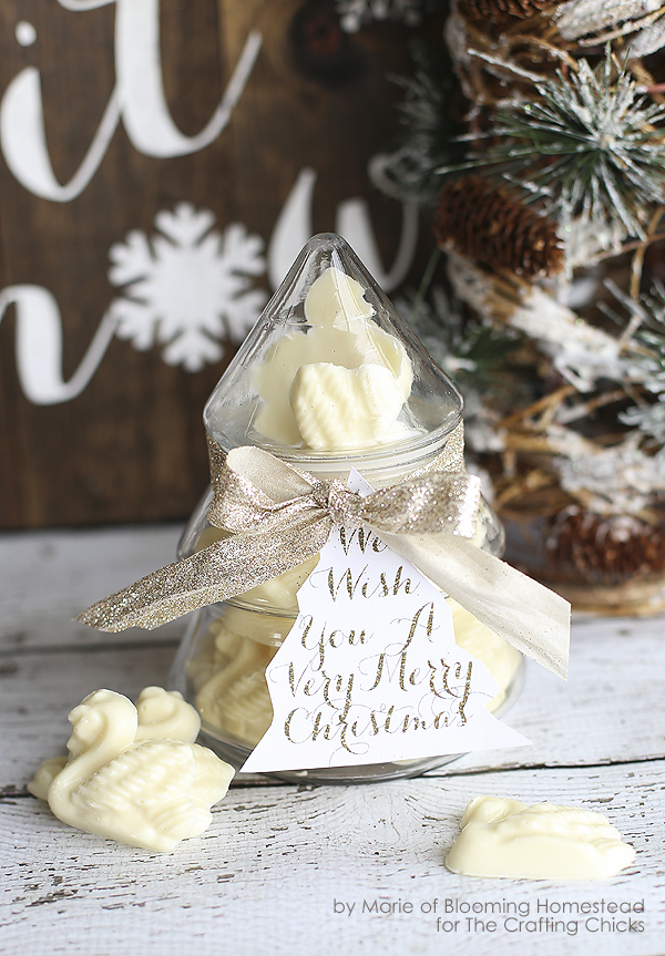 Beautiful Christmas Gift idea- white chocolate swans by Blooming Homestead