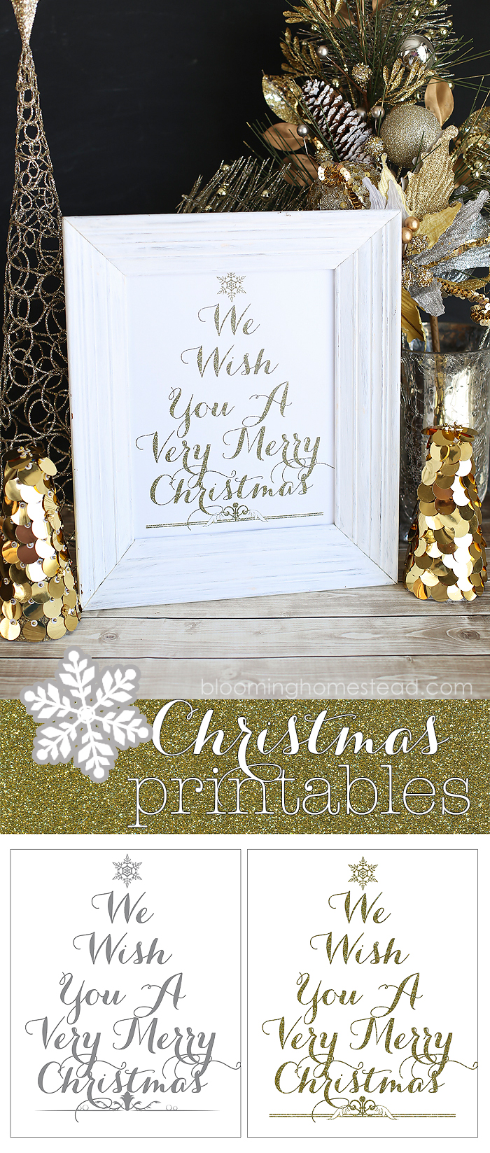 Pretty Christmas Printables in Gold or Gray for free download!