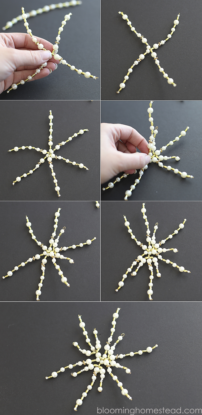 DIY Beaded Snowflake- Easy and beautiful for Christmas Decor