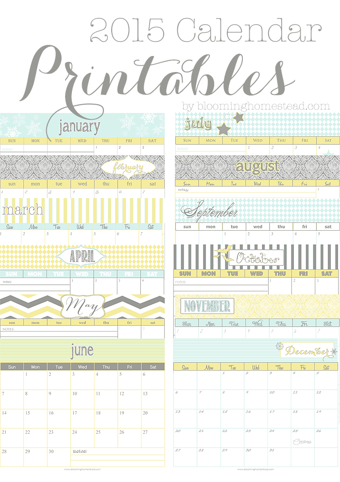 2015 Calendar Printables for free download available in 2 design/color styles.  Let's get organized!