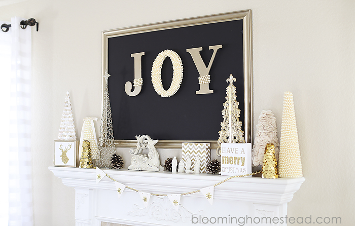 Beautiful Christmas Mantle by Blooming Homestead