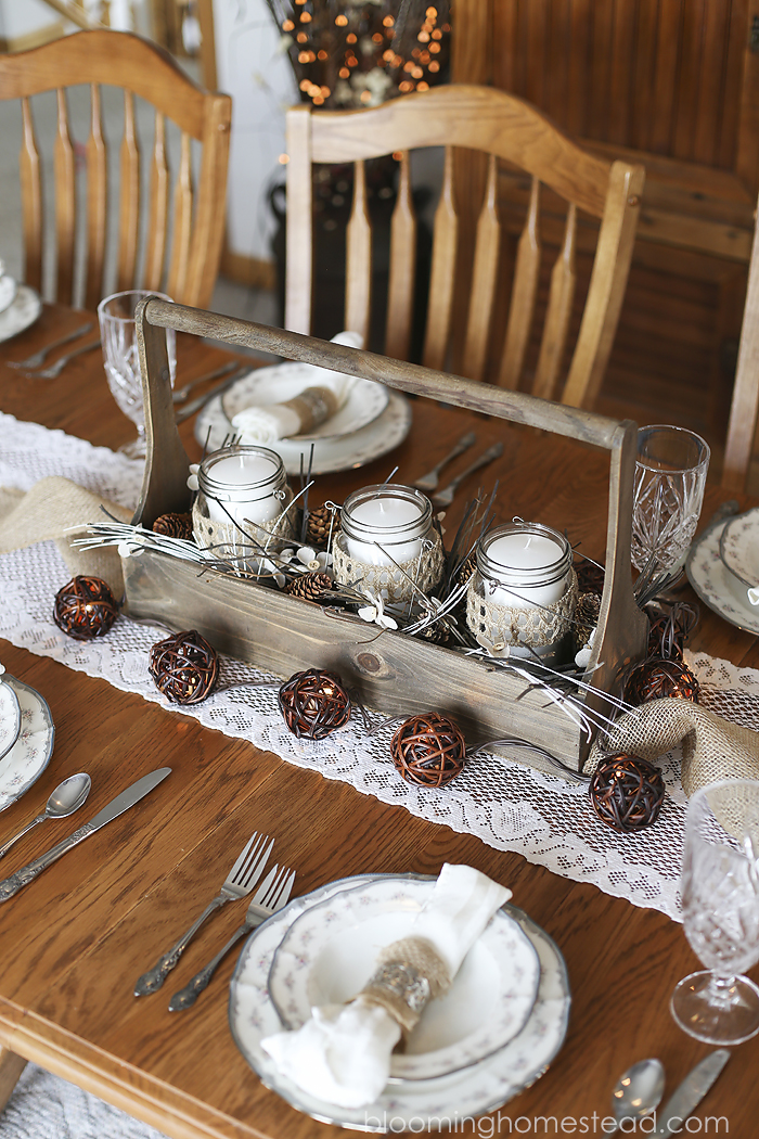 Rustic Winter Centerpiece by Blooming Homestead