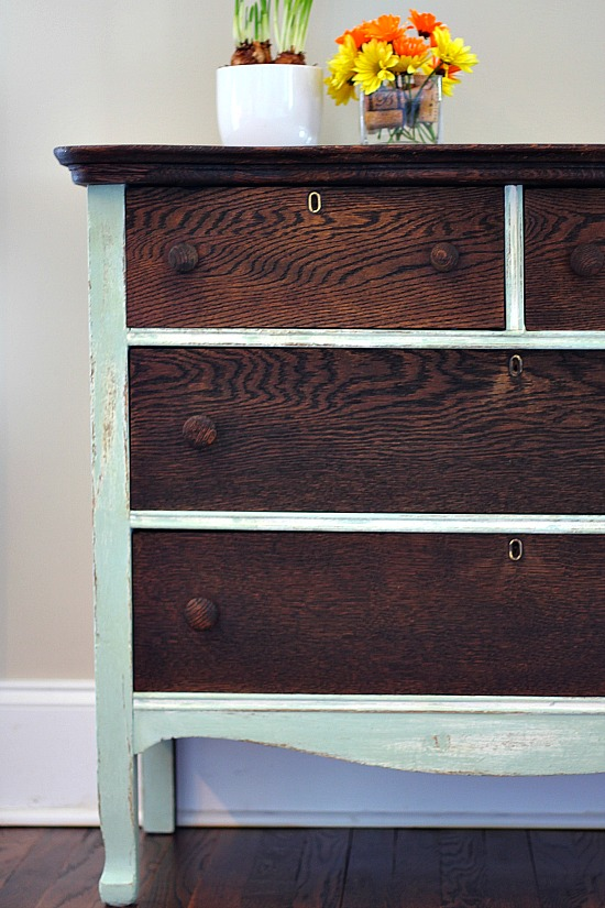 CCDresser-Makeover-with-Kona-stain-and-Creme-de-Menthe-chalk-based-paint