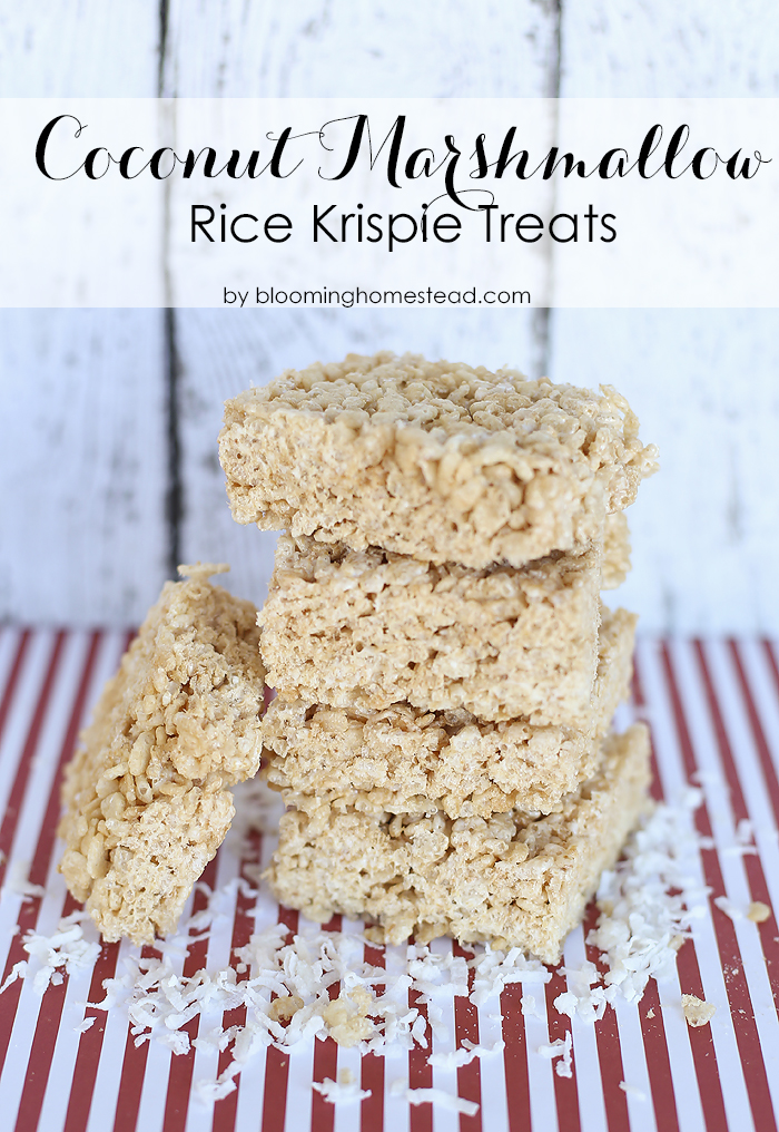 Delicious and easy coconut rice krispie treat recipe. So yummy!
