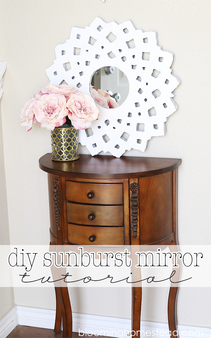 Affordable diy sunburst mirror with easy to follow tutorial.