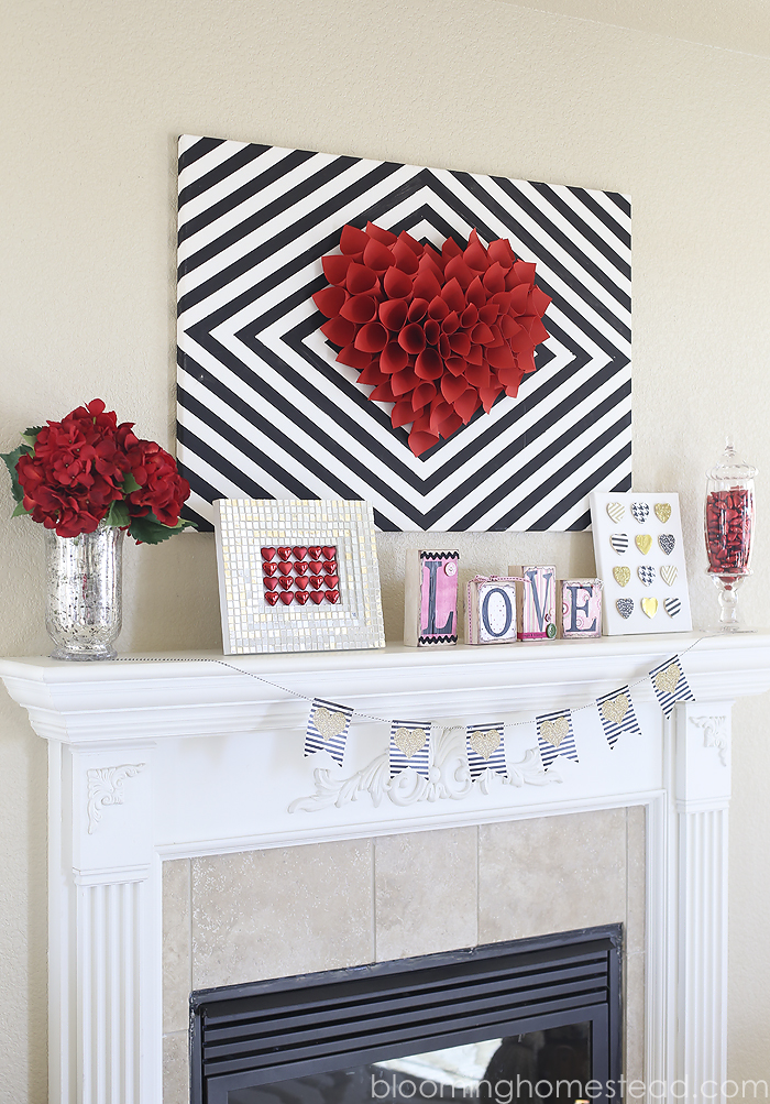 Valentines Mantle Decor