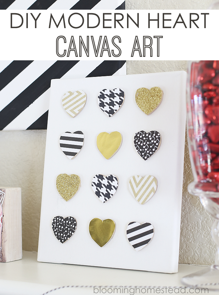 diy heart canvas by Blooming Homestead