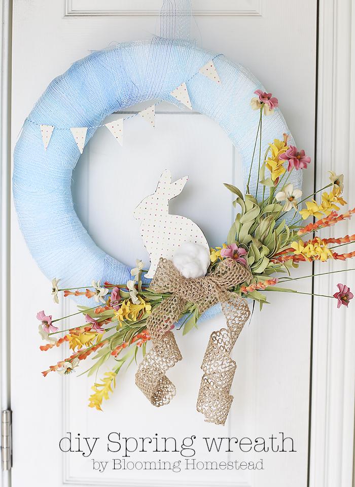 Diy Spring Wreath Blooming Homestead