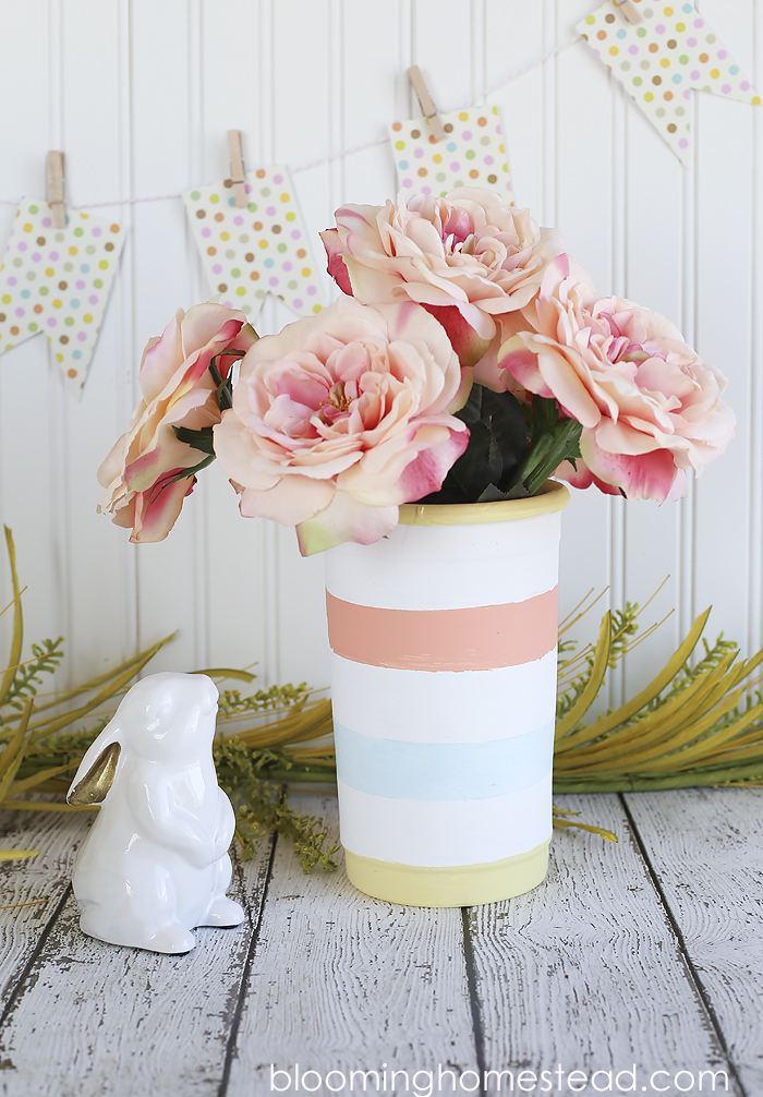 DIY Striped Vase tutorial, transform those terra cotta pots into something beautiful!