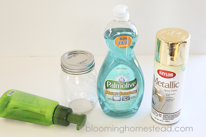 This DIY Mason Jar Soap Dispenser is so easy to make and look so cute on the counter!