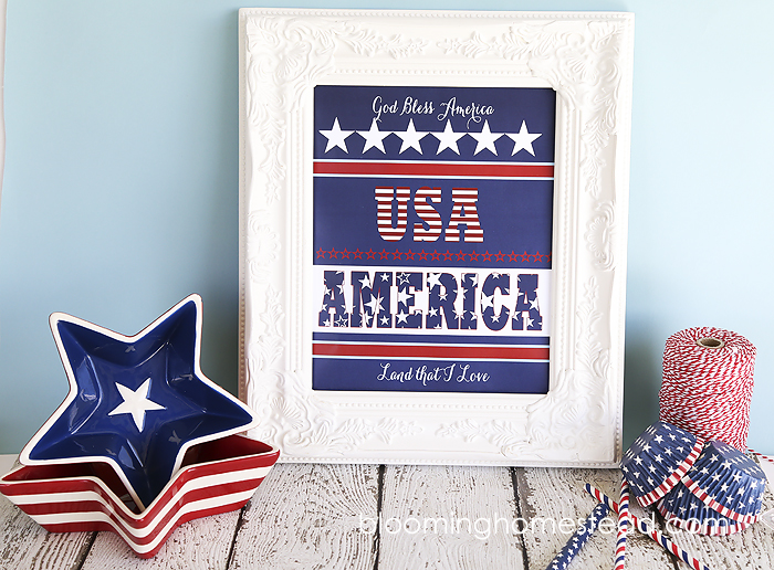 Beautiful Patriotic free Printable. Just download, print and frame and you have an adorable custom art print for 4th of July!