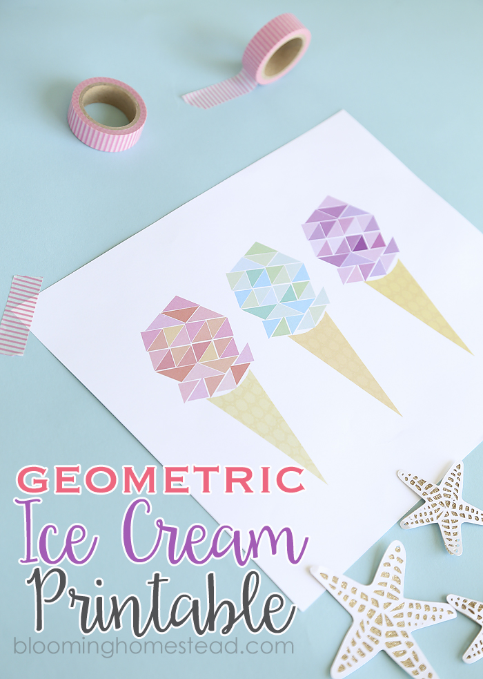 Adorable free printable geometric ice cream print. So pretty!