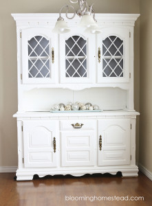 China hutch makeover from start to finish using chalk paint.
