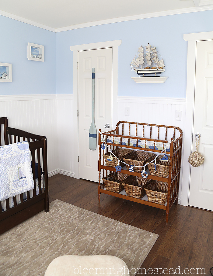 This adorable Nautical Nursery is so sweet. Ships and vintage fishing poles add such a fun addition.
