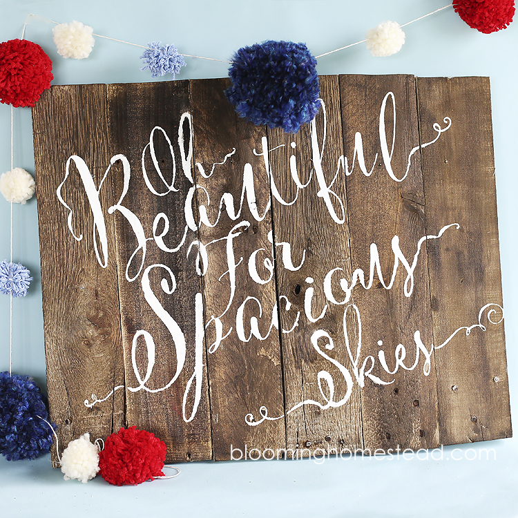 Patriotic Pallet Wood Sign by Blooming Homestead