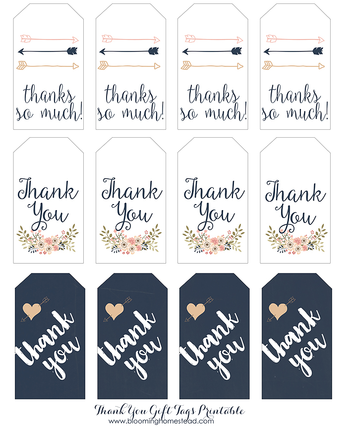 This is an image of Nifty Thank You Tags Printable