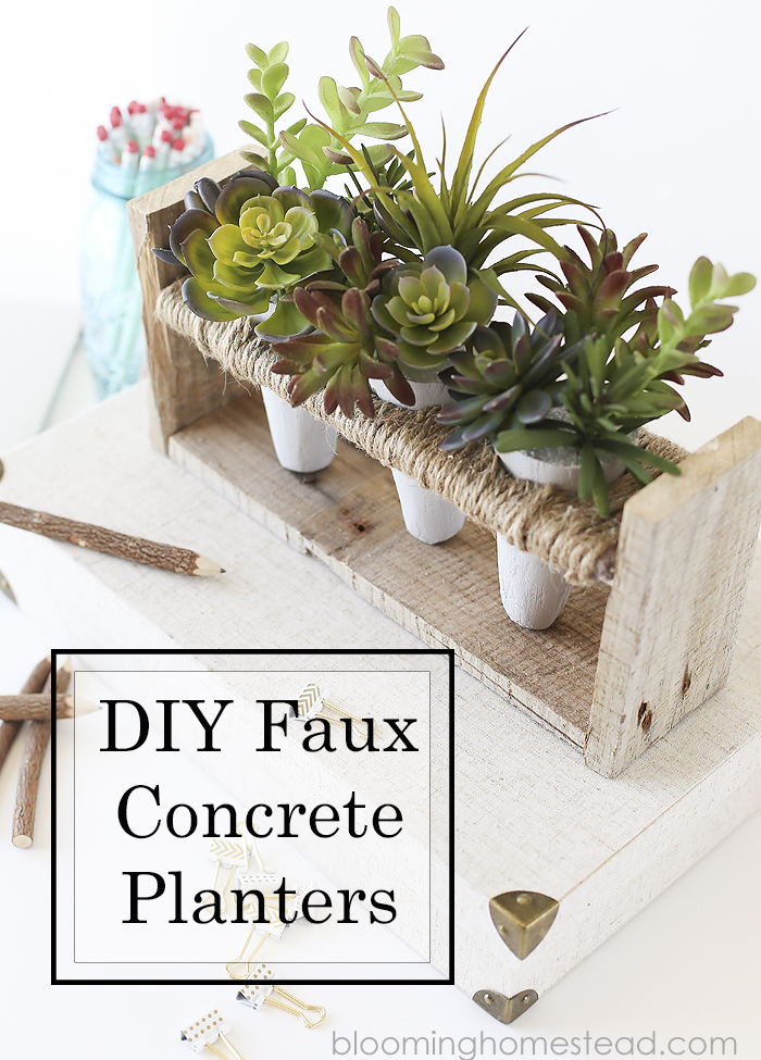 These DIY Faux Concrete Planters are so easy to make. Plus the best faux succulents you can find.